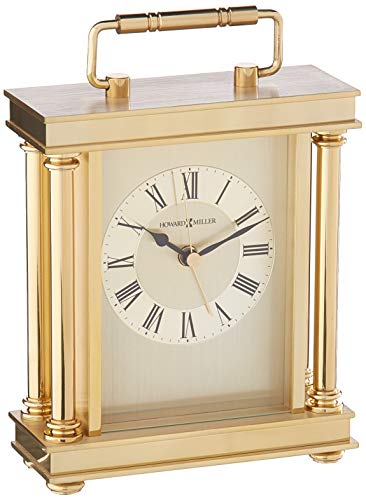 Howard Miller 645-584 Audra Table Clock - TABLE CLOCK: The Audra Table Clock has a brushed and polished brass finish with a decorative handle, turned brass button feet, and columns to compliment your home decor. The clock's quartz movement makes a soft ticking noise without the use of chimes for a quieter environment. DURABLE: This indoor carriage clock is created to last. It has a sturdy metal frame to relieve stress in a busy household. Place it in your kitchen, office, bathroom, bedroom, living room, and more. HIGH QUALITY: The enduring design shows traditional Roman numerals, with IIII instead of IV, to become a home essential. Easily tell time with circular, diamond-cut numeral ring, black hands, brass second and alarm hands, and glass crystal to stand out over the brass-tone dial. - clocks, bedroom-decor, bedroom - 41r9lcuIeJL -