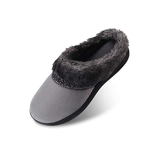 AnTuoBsc Women's House Slippers Microfiber Upper Slip-on Slight Clog Indoor/Outdoor Shoes-Grey-M
