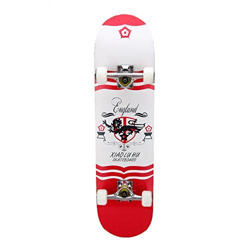 PUENTE Pro Cruiser Complete Skateboard 31 Inch (White & Red)