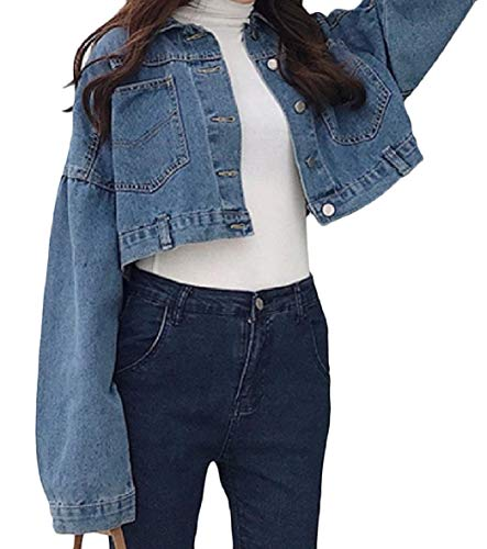 XINHEO Womens Solid Denim Pocket Short Long-Sleeve Turn Down Collar Outwear Jacket Dark Blue