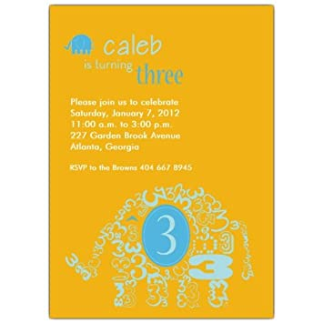 Image Unavailable Not Available For Color Elephant Boy 3Rd Birthday Invitations