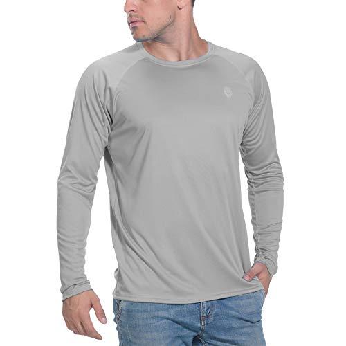 Men Sun Protection UPF 50+ UV Outdoor Shirt Rashguard for Running Fishing Hiking Grey (Best Sunscreen For Swimming)