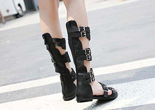 stile boemo Estate donna sandali Nero Scarpe SHINIK lunghi Nuovi da Fibbia sandali romano wWZpq