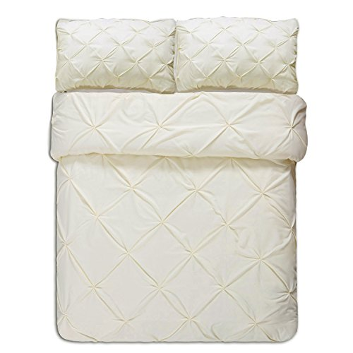 Word of Dream Pinch Pleat Microfiber Duvet Cover Set 3 PC, Full/Queen, Cream
