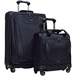 "Travelpro Maxlite 4 2-Piece Luggage Set: 25"" Expandable Spinner & Easy Carry On Under Seat Bag (Black)"