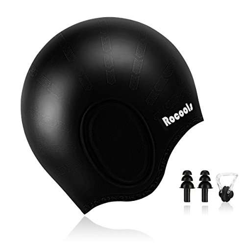 Orgrim Long Hair Swim Cap,Waterproof Silicone Swimming Cap for Adult Woman and Men,Keeps Hair Clean Ear Dry with Nose Clip and Ear Plugs (Black)
