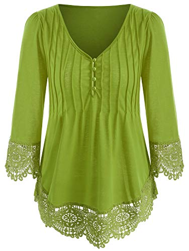 (KCatsy Womens Solid Color Lace Stitching Shirt T-Shirt V-Neck Button Detail Top)