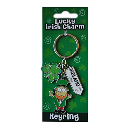 Irish Leprechaun Style Charm Keychain With Ireland Road - Charm Irish Lucky
