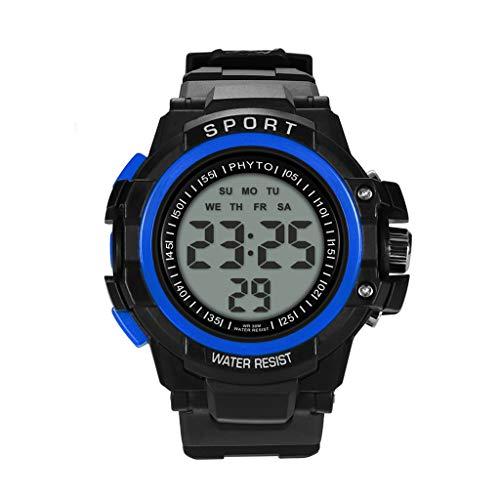 Digital Sports Watch Water Resistant Outdoor Electronic Ultra Thin Waterproof LED Military Back Light Black Men's Wristwatch (Blue)
