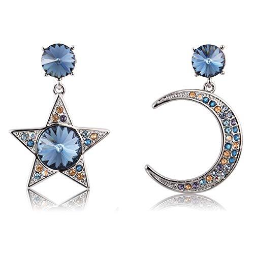 Crystal Dangle Earrings Moon and Star Asymmetric Drop Earrings for Women Richapex (Blue)