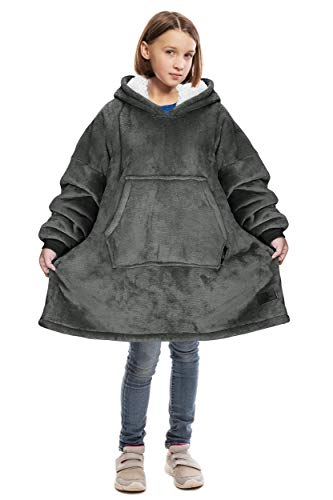 Catalonia Oversized Blanket Sweatshirt,Sherpa Hoodie,Super Soft Warm Comfortable Giant Pullover with Large Front Pocket for Boys Girls Teens Kids(7-13 yr)
