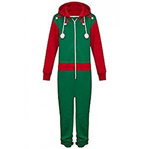 Novelty Unisex Mens Ladies Elf Santa All in One Christmas Onesie Costume Jumpsuit Sizes Small to 4XL (5XL, Elf Onesie) ()