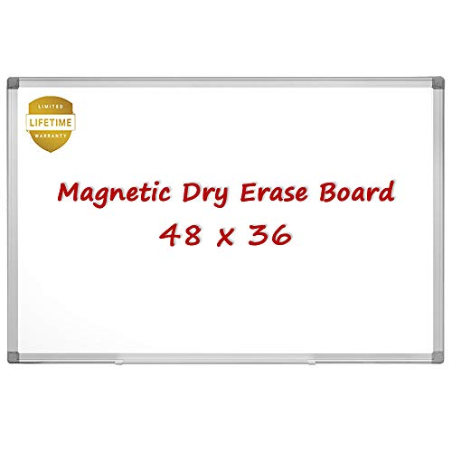 Magnetic Whiteboard/White Board, 48 X 36 Inches Magnetic Dry Erase Board, Aluminum Frame with Detachable Marker Tray, Silver