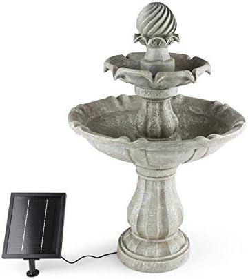 blumfeldt Vogelsbrunn - Fuente Solar Exterior Estilo Barroco, Bebedero para pájaros para jardín, Potente Bomba de Agua de 3 W máximo 250 L/h, Batería, Interruptor, Imita a hormigón