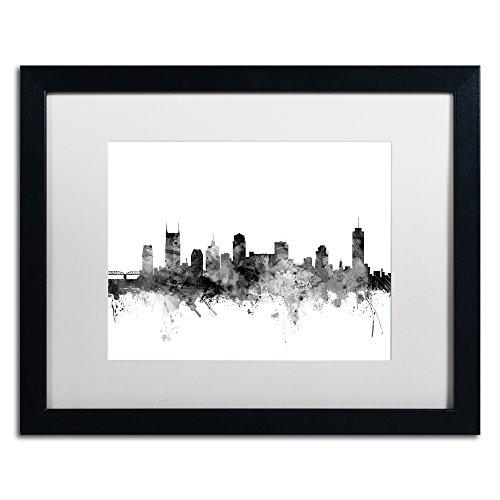 Nashville TN Skyline B&W by Michael Tompsett, White Matte, Black Frame 16x20-Inch