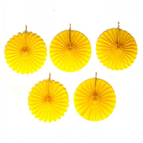 Amscan Pretty and Fun Hanging Round Mini Fan Party Decoration, Sunshine Yellow, Paper , 6, Pack of 5