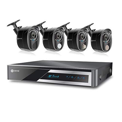 Anni Integrated Full Protection Wired Surveillance Kit, 8 CH 1080N DVR, 4 x 1080p Cameras: 1 x PIR Sensor Camera, 1 x Gas Detector Camera, 1 x Siren Alarm Camera, 1 x Normal Camera