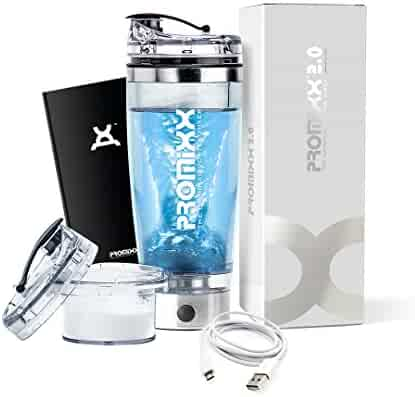 PROMiXX 2.0 (2018 Model) Stylish Stainless-steel Shaker Bottle   Rechargeable Portable Vortex Mixer   Includes Integrated Protein Storage Container And Micro-USB Cable   600ml / 20oz
