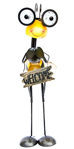 ReLIVE 20 Inch Metal Stand Up Garden Bugs with LED Light Solar Powered Eyes Holding a Welcome Sign (Yellow/Black Bee) from ReLive