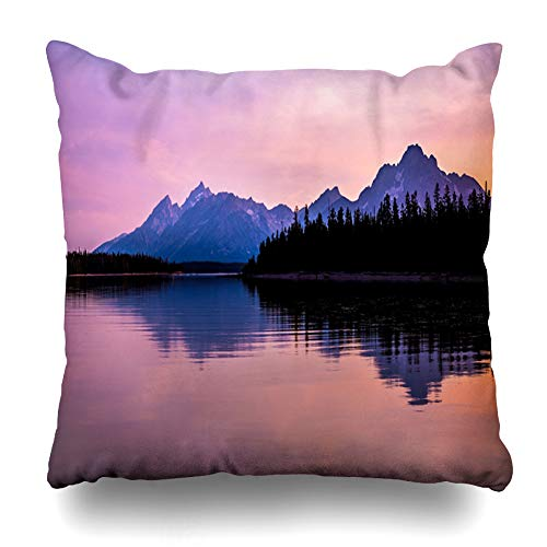 Ahawoso Throw Pillow Cover Square 16x16 Sunset Blue Wyoming Grand Teton Mountain Range Light Jackson Nature Parks Morning America Design Zippered Cushion Case Home Decor Pillowcase ()