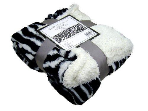 (Zebra Black and White Faux Fur Throw)