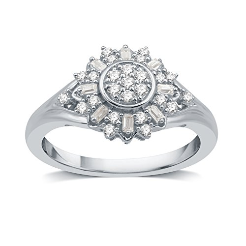 DeCarat 1/3 CT.T.W. Diamond Sterling Silver Sunflower Shaped Wedding Ring by DeCarat