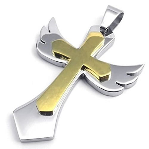 Stainless Steel Necklaces, Women's Men's Pendant Necklace Angel Wing 18-26