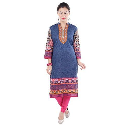 Chichi Indian Women Kurta Kurti 3/4 Sleeve X-Large Size Printed Straight Multi-Colored Top by CHI