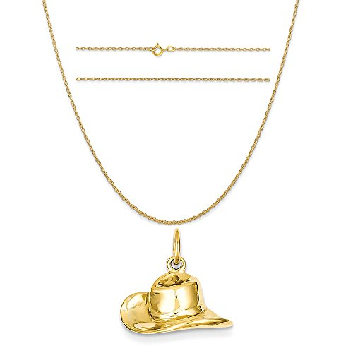 14k Yellow Gold Cowboy Hat Charm on a 14K Yellow Gold Carded Rope Chain Necklace, 20
