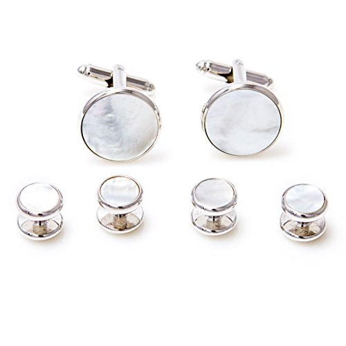 Of Mother Pearl Cufflinks White - MRCUFF Mother of Pearl Cufflinks and Studs Tuxedo Set in a Presentation Gift Box & Polishing Cloth