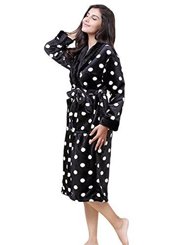 Women's Polka Dot Print Plush Fleece Robe Long Bathrobe Black 8-10