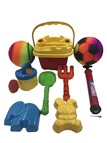 Sand Toy Set Sand Castle Bucket Toys 10-Piece Toy Set for Babies Toddlers and Kids- Play in the Pool or Sandbox with 6-eanch 2 Playground Balls and Pump (Colors May Vary)