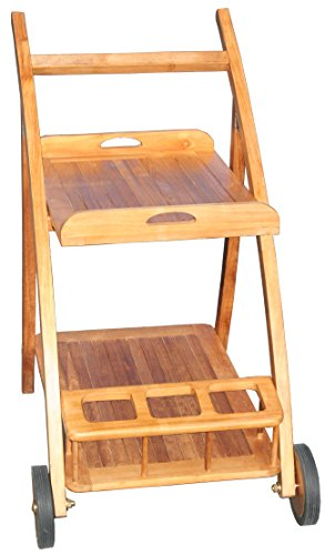 Teak Serving Trolley with Removable Shelf made by Chic (Teak Trolley)