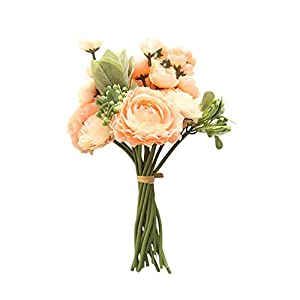 CXUKUN Artificial Flowers Persian Buttercup Crowfoot Ranunculus Wedding Bride Hand Tied Bouquet Home Decoration (Peach red) 69