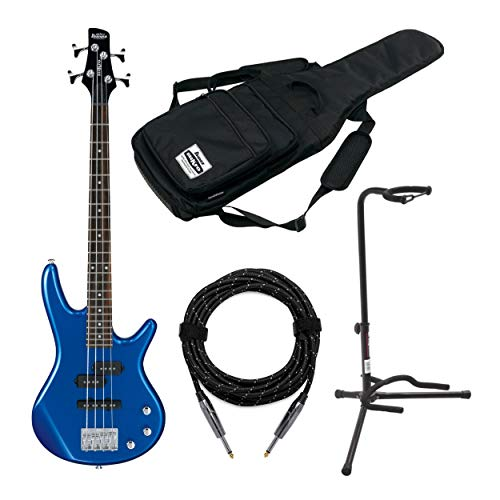 Ibanez GSRM20 Mikro Short-Scale Bass Guitar with Gig Bag, Knox Guitar Cable and Stand (4 Items)