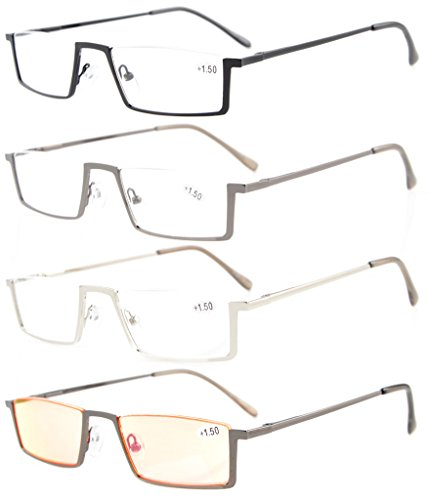 Half Rim Reading Glasses - Eyekepper 4-Pack Quality Spring Hinges Half-Rim Reading Glasses Include Computer Readers +2.5