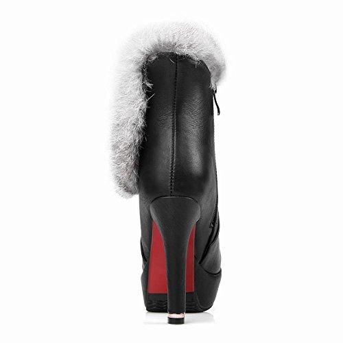 Carolbar Delle Donne Faux Fur Inverno Moda Sexy Piattaforma Tacco Alto Stivali Neri