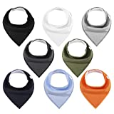 Baby Bibs 8 Pack Unisex Baby Bandana Drool Bibs for Boys & Girls Solid Colors by YOOFOSS