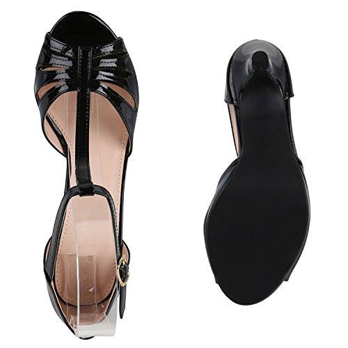 Stiefelparadies Damen Sandaletten Lack Stiletto High Heels Sandalen Glitzer Strass Party Schuhe Riemchensandaletten Metallic T-Strap Flandell Schwarz T-Strap Lack