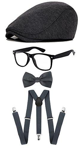 ZeroShop Classic Gatsby Newsboy Ivy Hat,Suspenders Y-Back Trouser Braces,Pre Tied Bow Tie,Non Prescription Glasses (Cotton - Dark (Costume The Great Gatsby)