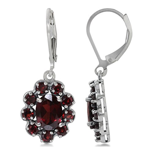 2.72ct. Natural Garnet 925 Sterling Silver Flower Cluster Leverback Earrings