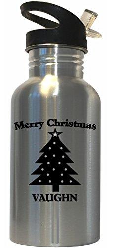 Merry Christmas Vaughn Stainless Steel Water Bottle Straw Top