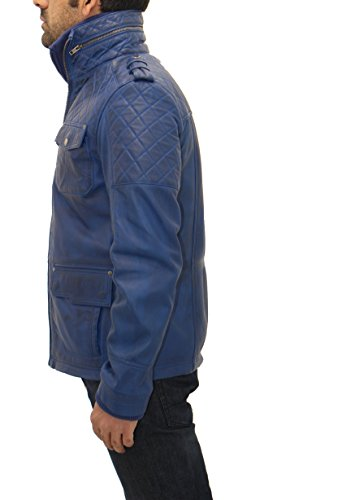 abrigo de chaqueta gant Matelass Safari l cuero de largo azul genuino Hombres en xwnq86PgZv