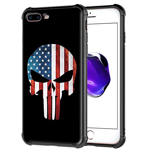 iPhone 7 Plus Case,iPhone 8 Plus Cover, Punisher American Skull Flag Pattern Tempered Glass Back Cover Soft TPU Bumper Frame Shock Absorption Case for Apple iPhone 7 Plus and iPhone ()