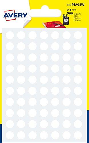 Avery 560 Pastilles ø8 mm – Tabla A6 – blanco (psa08 W)
