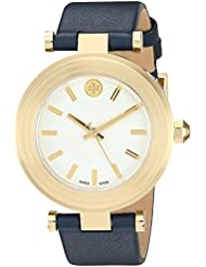 Tory Burch Classic T Ivory Dial Navy Leather Ladies Watch TB9001