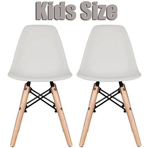 Eiffel Wood (2xhome Set of Two (2) - Grey - Kids Size Eames Side Chairs Eames Chairs Green Seat Natural Wood Wooden Legs Eiffel Childrens Room Chairs No Arm Arms Armless Molded Plastic Seat Dowel Leg)