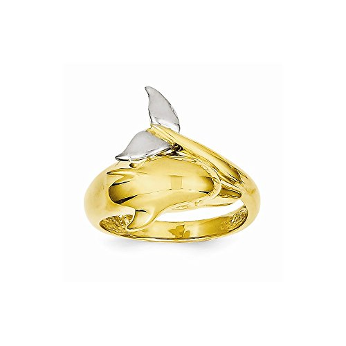 (14k Two-tone Polished Dolphin Ring)