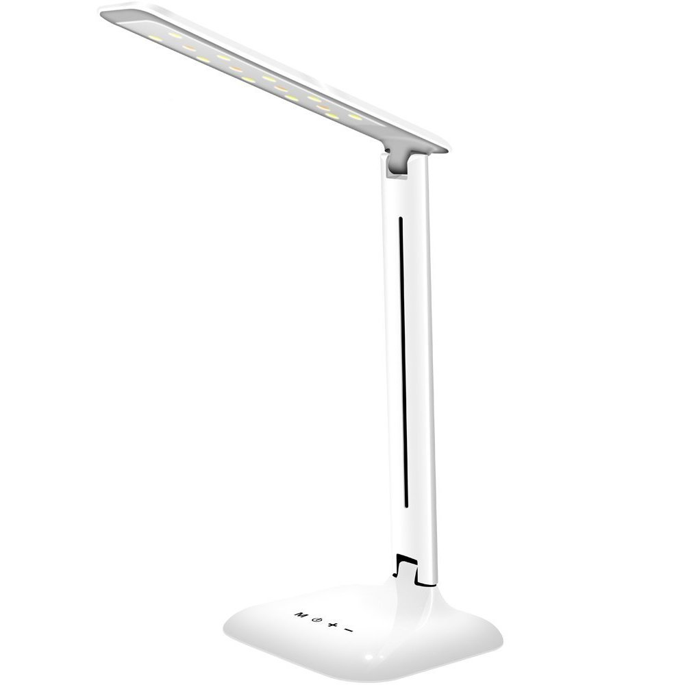 LED Desk Lamp, Lovin Product Dimmable Energy Efficient Table Lamps, Touch - Control/ 5-Level Dimmer/ 3 Color Modes; Foldable Eye-Caring Book Light for Reading (White)