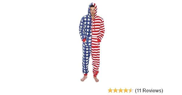 94b610f65d5 Amazon.com   followme 6423-M-Flag American Flag Adult Onesie Pajamas   Clothing
